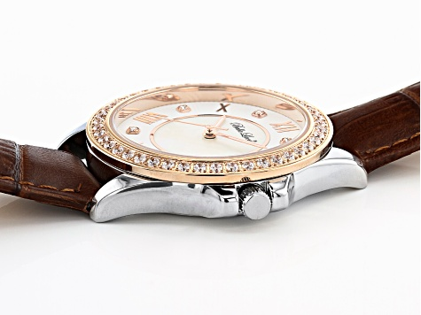 White Cubic Zirconia Rhodium And 18K Rose Gold Over Brass Genuine Brown Leather Ladies Wrist Watch