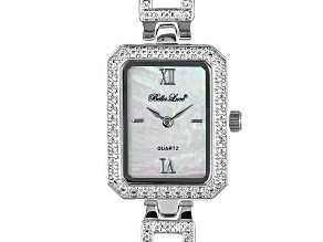 White Cubic Zirconia Rhodium Over Brass Ladies Wrist Watch 2.43ctw