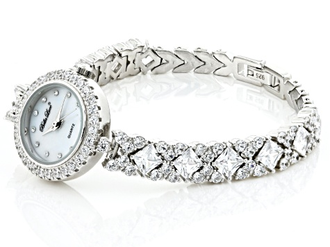ladies round and square 16.9CTW mop sterling silver watch