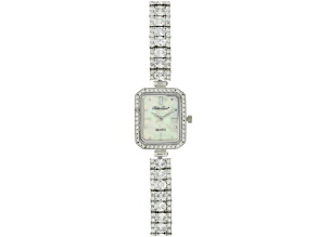 ladies round and oval diamond simulant 13.5 CTW sterling silver white mop dial watch