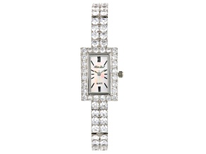 Ladies Round Diamond Simulant 16.96ctw Sterling White Watch