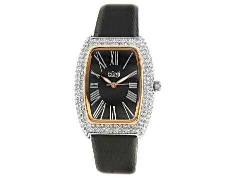 Burgi™ Crystals From Swarovski™ and Leather Band Watch