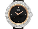 Burgi™ Crystals From Swarovski™ Black Tone Stainless Steel Mesh Metal Band Watch