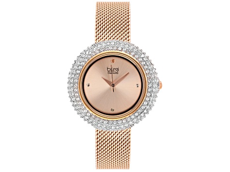 Burgi™ Crystals From Swarovski™ Rose Tone Stainless Steel Mesh Metal Band Watch