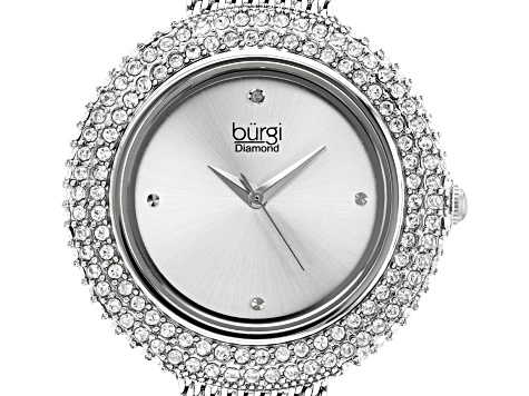 Burgi™ Crystals From Swarovski™ Silver Tone Stainless Steel Mesh Metal Band Watch