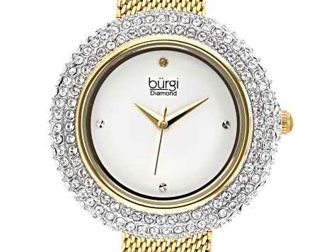 Burgi™ Crystals From Swarovski™ Gold Tone Stainless Steel Mesh Metal Band Watch