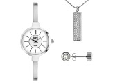 Burgi™ Crystals From Swarovski™ Silver Tone Base Metal Bangle Watch, Pendant, And Earrings Gift Set