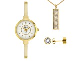 Burgi™ Crystals From Swarovski™ Gold Tone Base Metal Bangle Watch, Pendant, And Earrings Gift Set