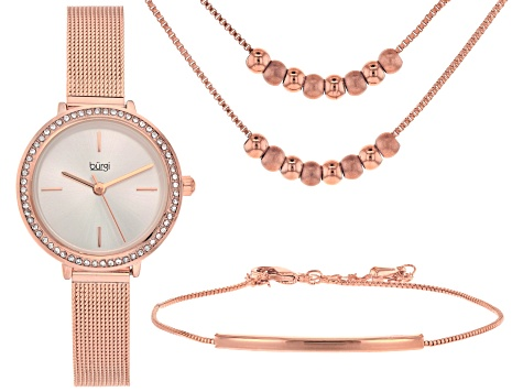 Burgi™ Crystals From Swarovski™ Rose Tone Stainless Steel Watch Gift Set.