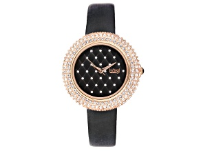 Burgi™ Crystals From Swarovski™ Gold Tone Stainless Steel and Black Leather Band Watch