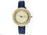 Burgi™ Crystals From Swarovski™ Gold Tone Stainless Steel and Blue Leather Band Watch