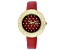 Burgi™ Crystals From Swarovski™ Gold Tone Stainless Steel and Red Leather Band Watch.