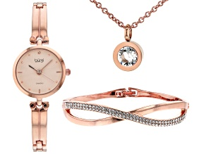 Burgi™ Crystals From Swarovski™ Rose Tone Diamond Dial Link Watch Gift Set