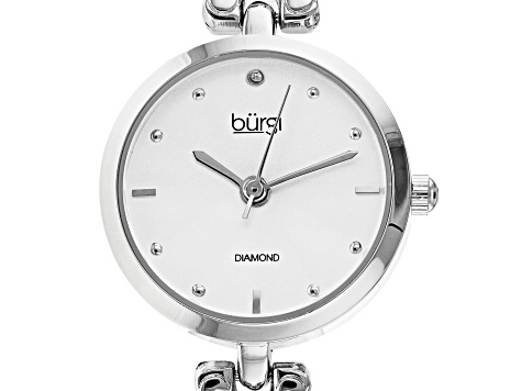 Burgi™ Crystals From Swarovski™ Silver Tone Stainless Steel Diamond Dial Link Watch Gift Set.