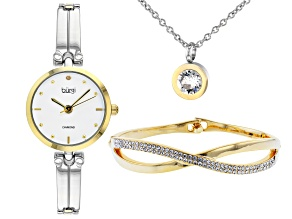 Burgi™ Crystals From Swarovski™ Two Tone Diamond Dial Link Watch Gift Set.