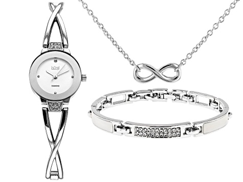 Burgi™ Crystals From Swarovski™ Silver Tone Stainless Steel Watch Gift Set.
