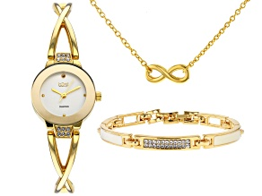 Burgi™ Crystals From Swarovski™ Gold Tone Stainless Steel Watch Gift Set