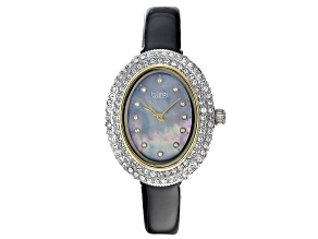 Burgi™ Crystals From Swarovski™ Two Tone Stainless Steel Black Patent Leather Band Watch