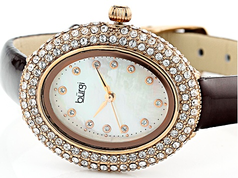 Burgi™ Crystals From Swarovski™ Rose Gold Tone Stainless Steel Dark Brown Patent Leather Band Watch