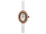 Burgi™ Crystals From Swarovski™ Rose Gold Tone Stainless Steel White Patent Leather Band Watch
