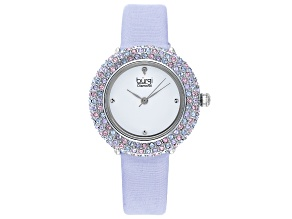 Burgi™ Diamond Accents & Crystals From Swarovski™ Purple Satin Over Leather Band Watch