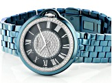 Carrero™ White Crystal Dial Blue Stainless Steel Watch