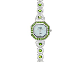 3.40ctw chrome diopside 3.88ctw white zircon sterling silver watch
