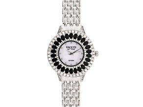 3.82ctw oval black spienl and 2.51ctw round white zircon mop dial sterling silver watch