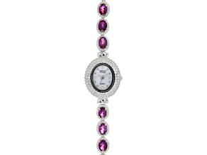 8.5ctw Oval Rhodolite Garnet & 3.0ctw Round White Zircon Sterling Silver Watch
