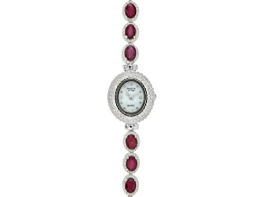 8.5ctw Oval Mahaleo Ruby® & 3.0ctw Round White Zircon Sterling Silver Watch