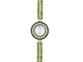 9.75ctw Round Chrome Diopside & 1.15ctw Round White Zircon Sterling Silver Watch