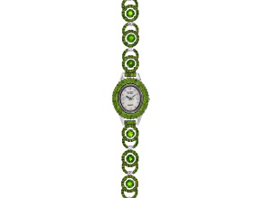 11.15ctw Round Chrome Diopside  Sterling White Watch