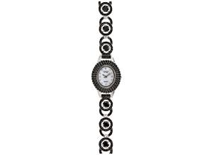 8.65ctw Round Black Spinel Sterling White Watch