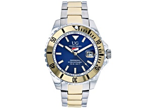 Ulysse Girard Blue Fin Stainless Steel Men's Sport Divers Watch Blue Dial Gold Tone Bezel