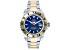 Ulysse Girard Blue Fin Stainless Steel Men's Sport Divers Watch Blue Dial Gold Tone Bezel