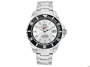 Ulysse Girard Blue Fin Stainless Steel Men's Sport Divers Watch Silver Tone Dial Black Bezel