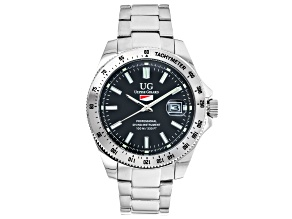 Ulysse Girard Marlin Stainless Steel Men's Sport Divers Watch Black Dial Silver Tone Bezel