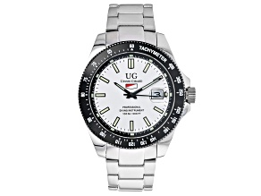 Ulysse Girard Marlin Stainless Steel Men's Sport Divers Watch White Dial Black Bezel
