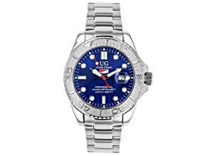 Ulysse Girard Shark Stainless Steel Men's Sport Divers Watch Blue Dial Silver Bezel