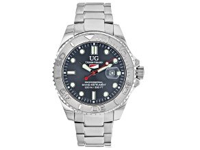 Ulysse Girard Shark Stainless Steel Men's Sport Divers Watch Grey Dial Silver Tone Bezel