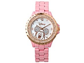 Disney® Ladies Rose Tone Crystal And White Mother Of Pearl Mickey Mouse Watch