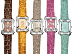 Burgi Silver Tone Watch Set Of 5