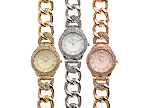 White Crystal Three Tone Watch Set.