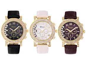 Ladies Gold Tone Floating Crystal Cream, Black And Marsala Watch Set.
