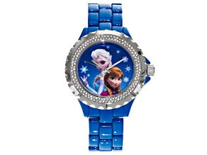 Disney ® Ladies White Crystal Blue Enamel Frozen Watch.