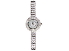 Adee Kaye Beverly Hills Crystal Mother Of Pearl Silver Tone Watch.