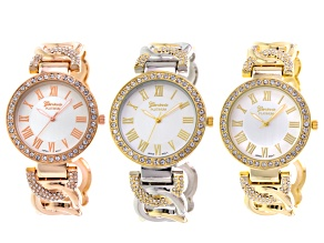 Ladies Rose Tone Gold Tone Two Tone Cuff Watch Set