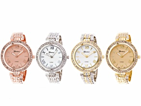 Ladies Crystal Gold Silver Rose Two Tone Panther Link Watch Set