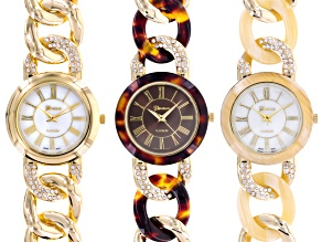 Ladies Gold Tone Bone Tortoise Shell Watch Set