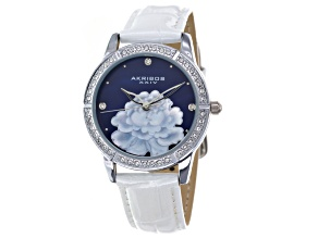 Akribos Ladies Swarovski Elements Mother Of Pearl Leather Watch.